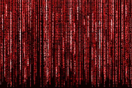 matrix: Big Red Binary code as matrix background, computer code with binary characters shining.