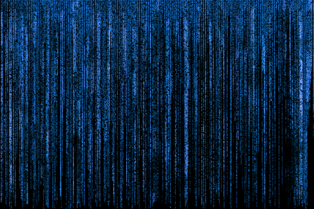 Big blue matrix background, computer code with symbols and characters.