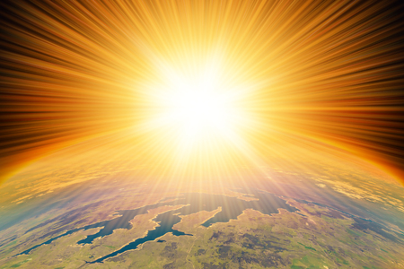 aerial bomb: Nuclear Missile Blast impact  on planet Earth.  Third world war, end of the world, aerial view Stock Photo