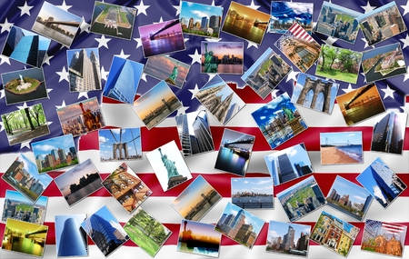 usa flags: New York city pictures collage of different famous locations landmark of New York, United States, USA with American flag on background.