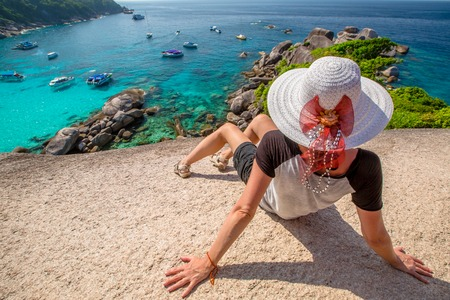 similan islands: Fashionable tourist looking panorama from Sail Rock View Point of Kor 8 of Similan Islands National Park, Phang Nga, Thailand, one of the tourist attraction of the Andaman Sea.