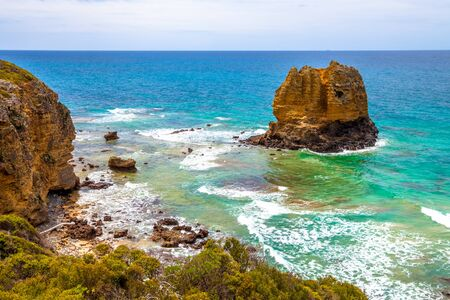 split road: Eagle Point Marine Sanctuary surrounding Split Point, located at Aireys Inlet on the Great Ocean Road, Victoria, Australia. .