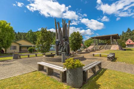 honours: Queenstown, Tasmania, Australia - January 10, 2015: Monument of old miniers, Driffeld Street. The monument honours the simple miners of old Queenstown