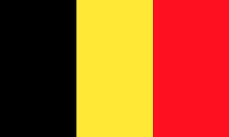constitutional: The national flat flag of Belgium. black, yellow and red, 2d background. Stock Photo