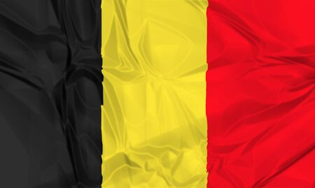 nato: The national waving flag of Belgium. black, yellow and red, 3d background.