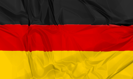 nato: The national waving flag of Germany . black, yellow and red 3d background.