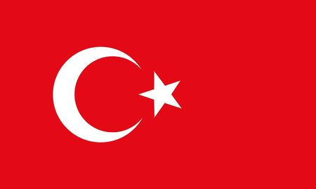 2d map: The national flat flag of Turkey. red color with star and half moon, 2d background.