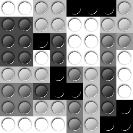 grey scale: Template of plastic construction brick parts of grey scale