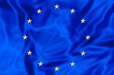 nato: Waving flag of Europe, blue with yellow stars. 3d background.