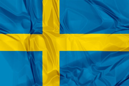 nato: Waving flag of Sweden, blue and yellow colors. 3d background. Stock Photo