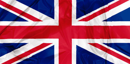 kingdom: Waving flag of England, red blue white colors. 3d background.