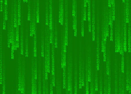 Green Japan matrix background, computer generated code with Japanese and Chinese characters.