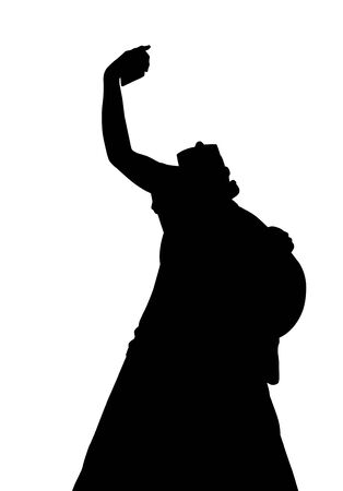 portrait young girl studio: Portrait of selfie woman silhouette, black backlight isolated on white background.