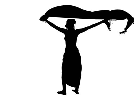 sarong: Fashion, sexy woman silhouette with flying sarong, black backlight isolated on white background. Stock Photo
