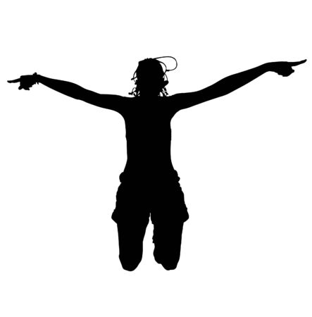 sporty: Happy sporty woman silhouette jumping in the air, black backlight isolated on white background.