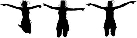 portrait young girl studio: Three happy sporty women silhouette jumping in the air, black backlight isolated on white background. Stock Photo