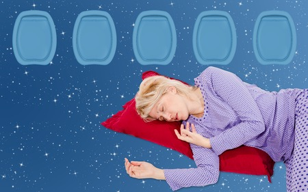 peacefully: Woman Sleeping peacefully and safe in a plane on a red pillow, sky star field background, copy space.