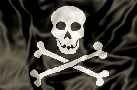 pirated: 3D Pirate Flag waving, white skull and bones on black background