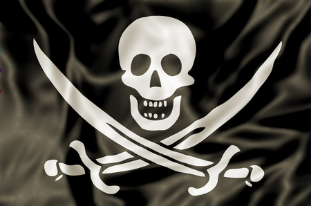calico: 3D Pirate Flag of Calico Jack Rackham, white skull and swords crossing on black fabric background