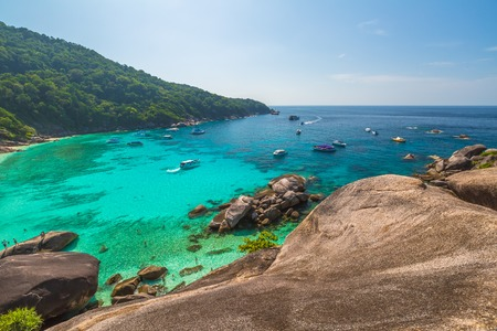 andaman sea: Spectacular view from Sail Rock View Point of Kor 8 of Similan Islands National Park, Phang Nga, Thailand, one of the tourist attraction of the Andaman Sea.