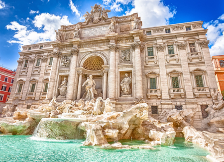 lazio: Spectacular Trevi Fountain, designed by Nicola Salvi Baroque era, in a sunny day, one of the most famous fountains in the world, capital of Rome, Lazio, Italy.