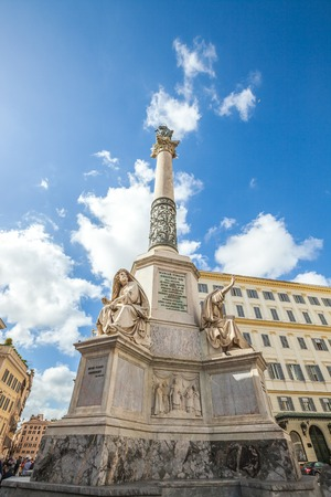 spagna: Close up of Column of the Immaculate Conception monument at Piazza di Spagna, Rome, Italy.