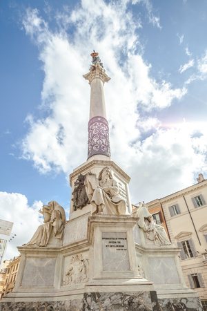 immaculate conception: Close up of Column of the Immaculate Conception monument at Piazza di Spagna, Rome, Italy.