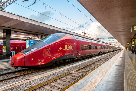 Rome, Italy - May 12, 2016: High speed train Italo at Roma Termini railway station.