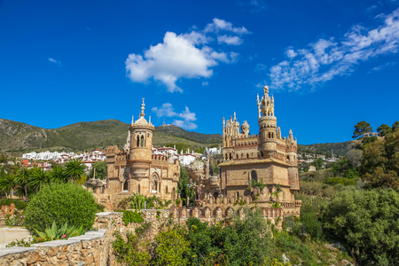 fairytale castle: Pannoramic view of famous Castillo de Colomares is a monument similar to a fairytale castle, dedicated to Christopher Columbus. Benalmadena, near Malaga in Andalusia, Spain. Editorial