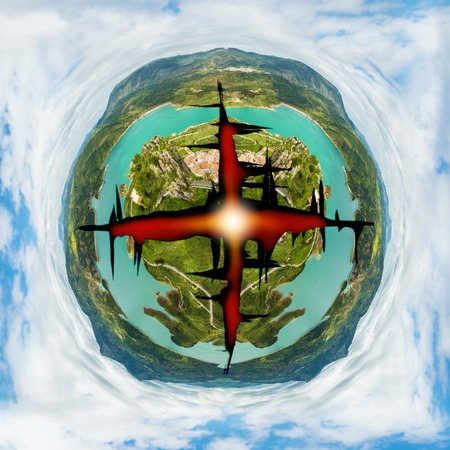 armageddon: Blasted planet earth from aerial view. Concept of green ecosystem conservation, pollution,armageddon and war or nuclear missile blast