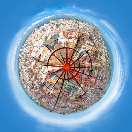 armageddon: Blasted planet cityscape from aerial view. Concept of green ecosystem conservation, pollution,armageddon and war or nuclear missile blast