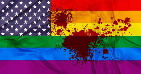 American Flag with rainbow flag united with blood stains. Concept of violence and homophobia. Memory for Orlando shooting attack Stock Photo