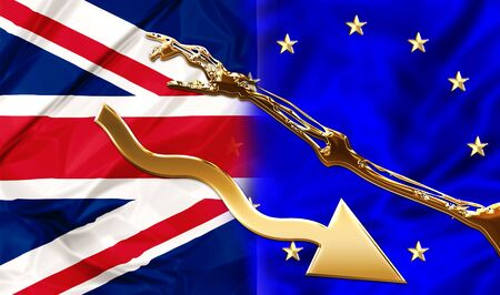 blackmail: UK and Europe flags bonded together by a financial blackmail and hard conditions. Financial concept for debit blackmail and bond. Stock Photo