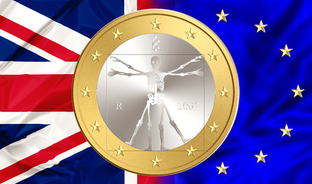 bonded: UK bonded to stay in Europe. Financial concept for failure, debit, unique currency and financial bond