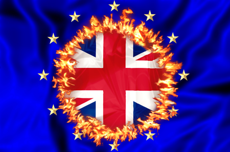 burning money: European economy burning money because of UK leaving Europe. Financial concept for failure, debit, unique currency and financial bond and brexit Stock Photo
