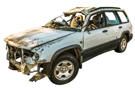 Damaged white car wreck on white background Stock Photo