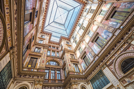 alberto: Rome, Italy - May 12, 2016: Detail of the famous glass roof Galleria Alberto Sordi, the oldest shopping center, located in Piazza Colonna in Rome, Italy. Editorial