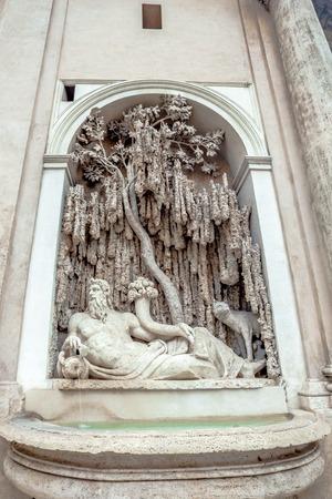tevere: Rome Fountain statue representing river Tevere symbol of Rome in quattro fontane square in Rome, Italy. By Domenico Fontana and Pietro Berrettini
