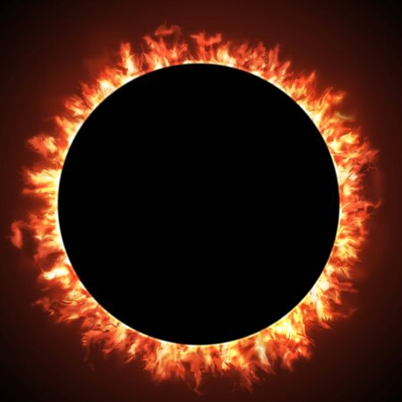 Solar eclipse of a black hole sun in deep space.