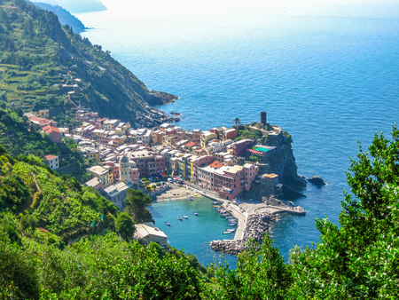 vernazza: Aerial View of Vernazza, one of the jewels of Cinque Terre National Park, Liguria, Italy.