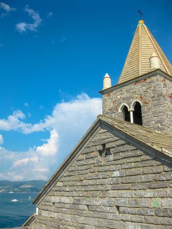 golfo: Close up of the famous gothic Church of St. Peter, Chiesa di San Pietro, in Porto Venere, Ligurian Coast, La Spezia, Italy.