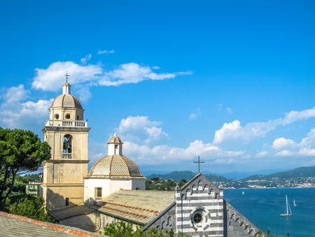 lawrence: Panoramic view of the romanesque church of St. Lawrence at Portovenere in Cinque Terre, La Spezia, Italy.