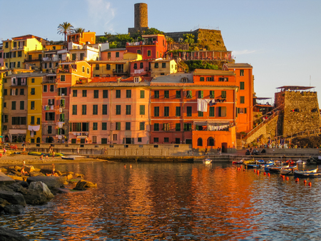 vernazza: Vernazza at sunset, village of Cinque Terre in Liguria, Italy.