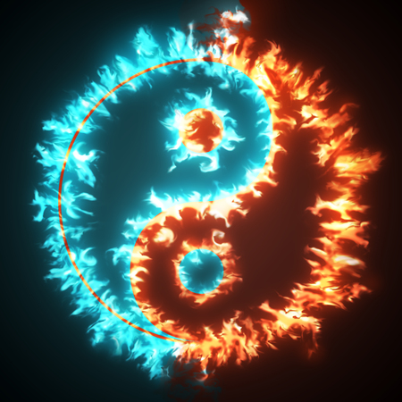 Yin and Yang symbol on red and blue fire. Concepts of: the bad inside the good and the good inside the bad in life, opposites, dark side, good and bad, black background. Stock Photo