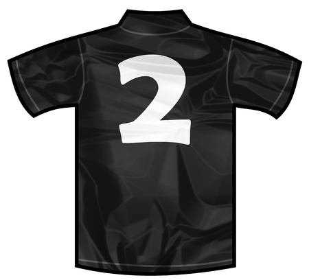 new zeland: Number 2 two Black sport shirt as a soccer,hockey,basket,rugby, baseball, volley or football team t-shirt. For the goalkeeper or the referee or New Zeland team Stock Photo