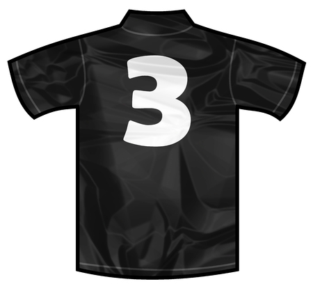 new zeland: Number 3 three Black sport shirt as a soccer,hockey,basket,rugby, baseball, volley or football team t-shirt. For the goalkeeper or the referee or New Zeland team