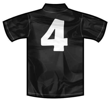 new zeland: Number 4 four Black sport shirt as a soccer,hockey,basket,rugby, baseball, volley or football team t-shirt. For the goalkeeper or the referee or New Zeland team