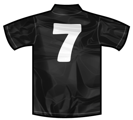 new zeland: Number 7 seven Black sport shirt as a soccer,hockey,basket,rugby, baseball, volley or football team t-shirt. For the goalkeeper or the referee or New Zeland team Stock Photo
