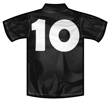 new zeland: Number 10 ten Black sport shirt as a soccer,hockey,basket,rugby, baseball, volley or football team t-shirt. For the goalkeeper or the referee or New Zeland team Stock Photo