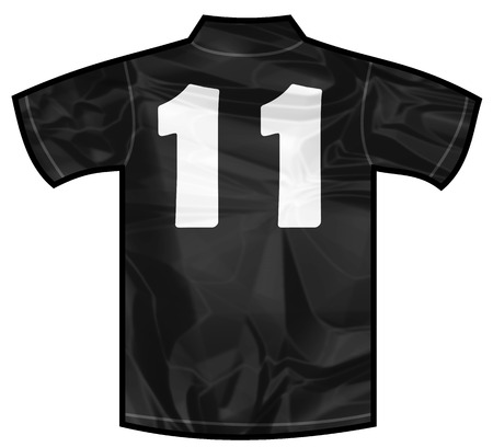 new zeland: Number 11 eleven Black sport shirt as a soccer,hockey,basket,rugby, baseball, volley or football team t-shirt. For the goalkeeper or the referee or New Zeland team